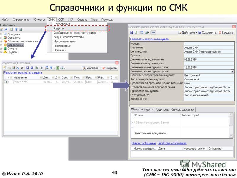 Типовая система менеджмента качества (СМК – ISO 9000) коммерческого банка 40 © Исаев Р.А. 2010 Справочники и функции по СМК
