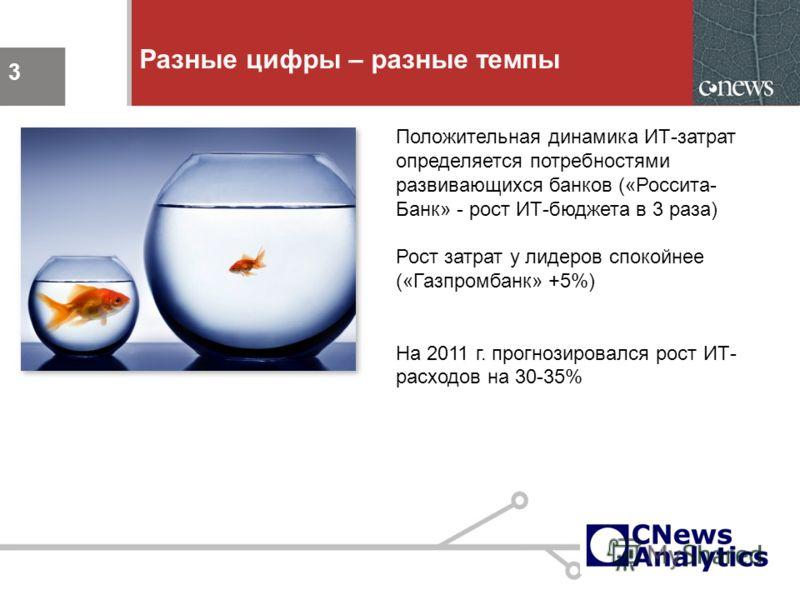 3 Разные цифры – разные темпы 3 Положительная динамика ИТ-затрат определяется потребностями развивающихся банков («Россита- Банк» - рост ИТ-бюджета в 3 раза) Рост затрат у лидеров спокойнее («Газпромбанк» +5%) На 2011 г. прогнозировался рост ИТ- расх