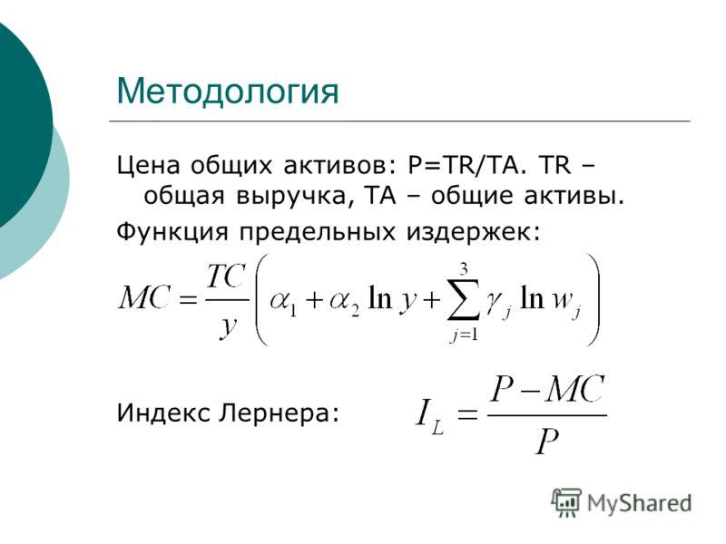 Методология Цена общих активов: P=TR/TA. TR – общая выручка, ТА – общие активы. Функция предельных издержек: Индекс Лернера: