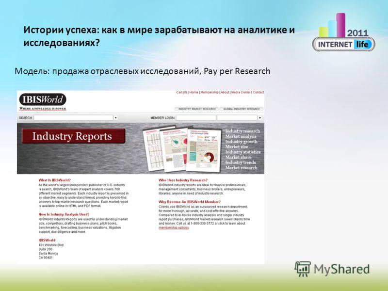 Истории успеха: как в мире зарабатывают на аналитике и исследованиях? Модель: продажа отраслевых исследований, Pay per Research