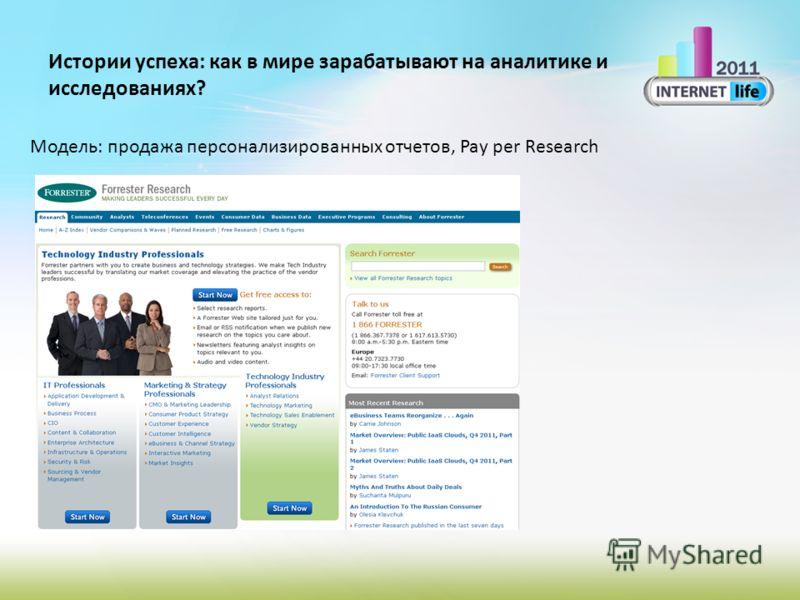 Истории успеха: как в мире зарабатывают на аналитике и исследованиях? Модель: продажа персонализированных отчетов, Pay per Research