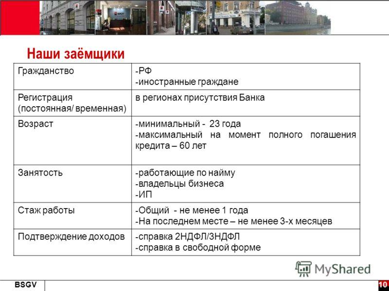 10BSGV Наши заёмщики Гражданство - РФ - иностранные граждане Регистрация (постоянная/ временная) в регионах присутствия Банка Возраст - минимальный - 23 года - максимальный на момент полного погашения кредита – 60 лет Занятость - работающие по найму