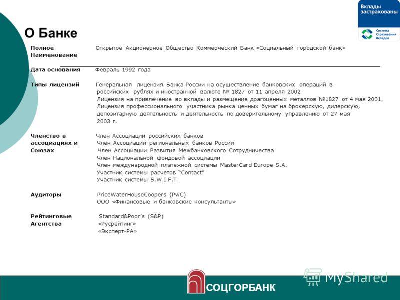 4 О Банке Полное Открытое Акционерное Общество Коммерческий Банк «Социальный городской банк» Наименование Дата основания Февраль 1992 года Типы лицензий Генеральная лицензия Банка России на осуществление банковских операций в российских рублях и инос