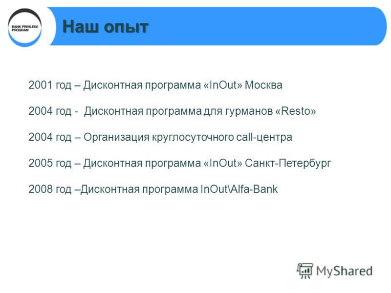 2001 год – Дисконтная программа «InOut» Москва 2004 год - Дисконтная программа для гурманов «Resto» 2004 год – Организация круглосуточного call-центра 2005 год – Дисконтная программа «InOut» Санкт-Петербург 2008 год –Дисконтная программа InOut\Alfa-B
