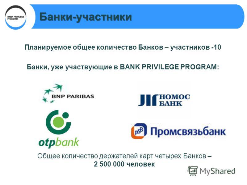Банки-участники Планируемое общее количество Банков – участников -10 Банки, уже участвующие в BANK PRIVILEGE PROGRAM: Общее количество держателей карт четырех Банков – 2 500 000 человек