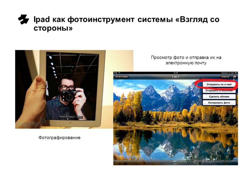 Ipad как фотоинструмент системы «Взгляд со стороны» Фотографирование Просмотр фото и отправка их на электронную почту
