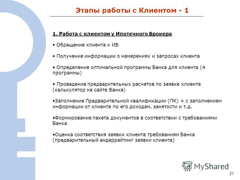 124 Этапы работы с Клиентом - 1 1. Работа с клиентом у Ипотечного Брокера Обращение клиента к ИБ Получение информации о намерениях и запросах клиента Определение оптимальной программы Банка для клиента (4 программы) Проведение предварительных расчето