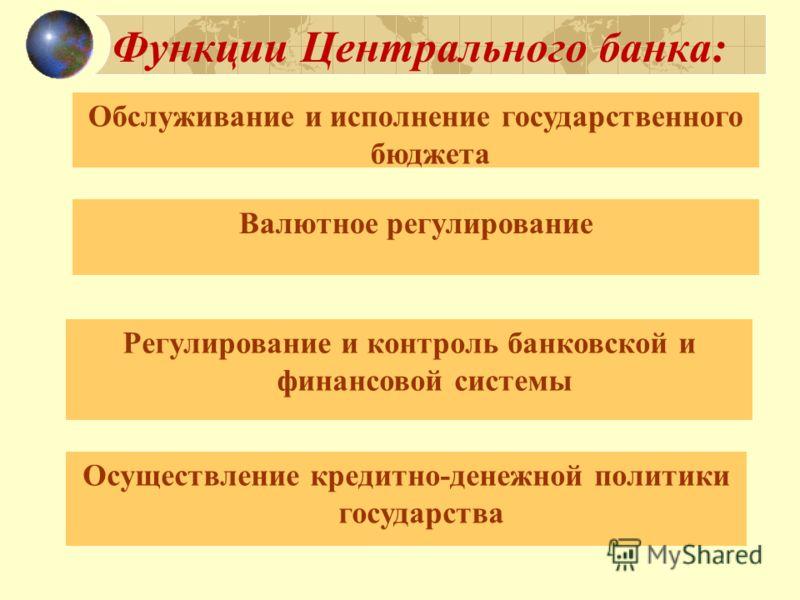 Функции Центрального банка: Обслуживание и исполнение государственного бюджета Валютное регулирование Регулирование и контроль банковской и финансовой системы Осуществление кредитно-денежной политики государства