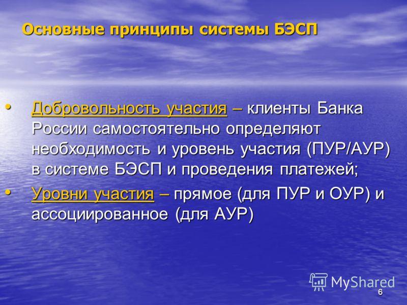 6 Основные принципы системы БЭСП Добровольность участия – клиенты Банка России самостоятельно определяют необходимость и уровень участия (ПУР/АУР) в системе БЭСП и проведения платежей; Добровольность участия – клиенты Банка России самостоятельно опре
