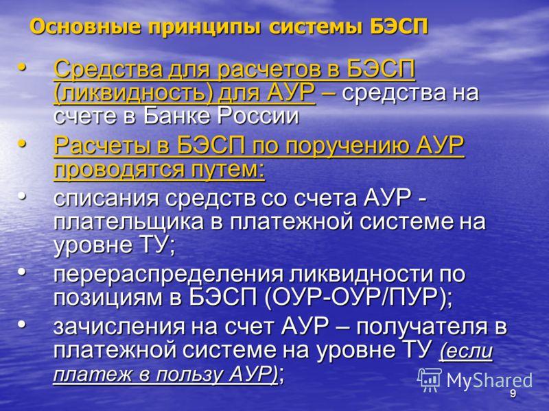 9 Основные принципы системы БЭСП Средства для расчетов в БЭСП (ликвидность) для АУР – средства на счете в Банке России Средства для расчетов в БЭСП (ликвидность) для АУР – средства на счете в Банке России Расчеты в БЭСП по поручению АУР проводятся пу