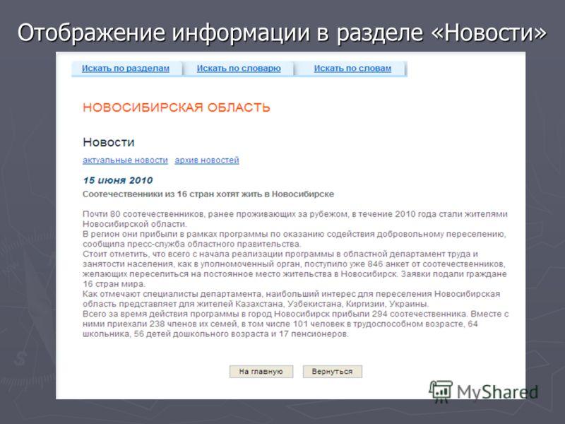 Отображение информации в разделе «Новости»
