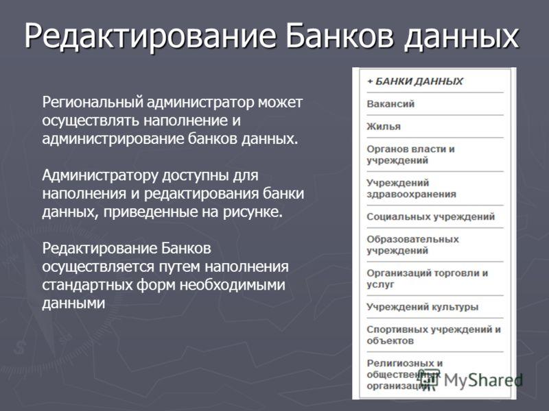 Редактирование Банков данных Региональный администратор может осуществлять наполнение и администрирование банков данных. Администратору доступны для наполнения и редактирования банки данных, приведенные на рисунке. Редактирование Банков осуществляетс
