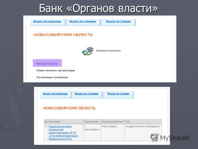 Банк «Органов власти»