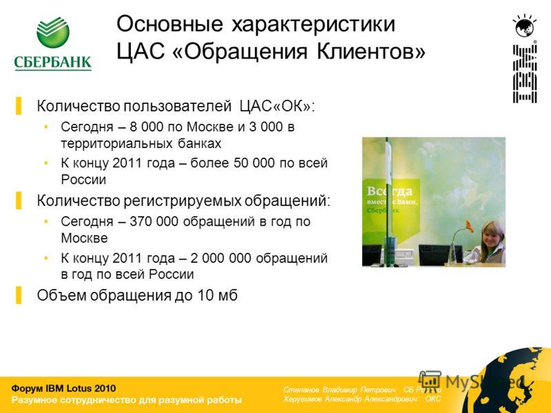 Основные характеристики ЦАС «Обращения Клиентов» Количество пользователей ЦАС«ОК»: Сегодня – 8 000 по Москве и 3 000 в территориальных банках К концу 2011 года – более 50 000 по всей России Количество регистрируемых обращений: Сегодня – 370 000 обращ