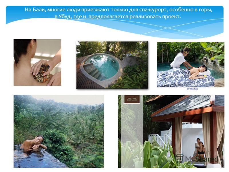 На Бали, многие люди приезжают только для спа-курорт, особенно в горы, в Убуд, где и предполагается реализовать проект.