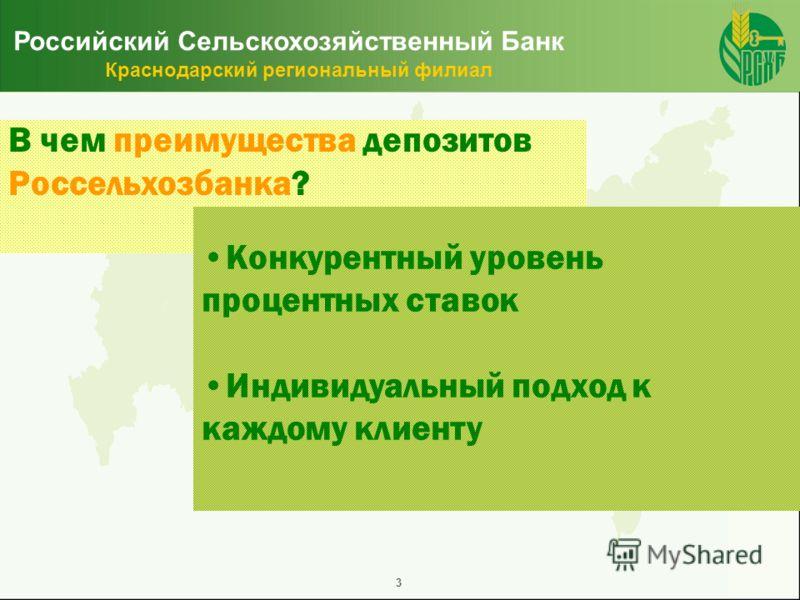 3 Российский Сельскохозяйственный Банк Краснодарский региональный филиал Конкурентный уровень процентных ставок Индивидуальный подход к каждому клиенту В чем преимущества депозитов Россельхозбанка?