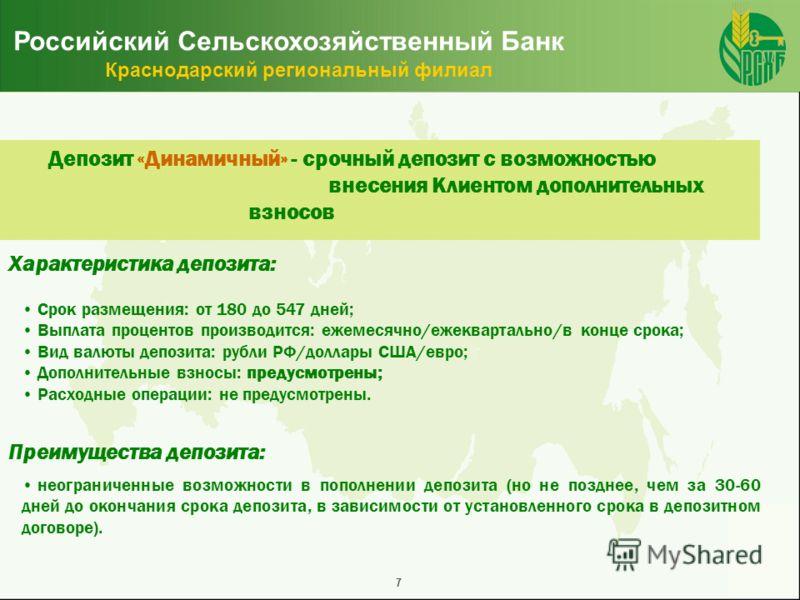 7 Российский Сельскохозяйственный Банк Краснодарский региональный филиал Депозит «Динамичный» - срочный депозит с возможностью внесения Клиентом дополнительных взносов неограниченные возможности в пополнении депозита (но не позднее, чем за 30-60 дней