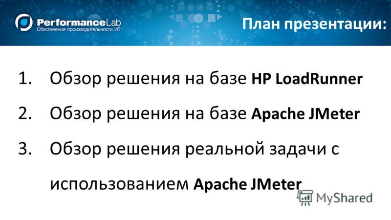 1.Обзор решения на базе HP LoadRunner 2.Обзор решения на базе Apache JMeter 3.Обзор решения реальной задачи с использованием Apache JMeter План презентации: