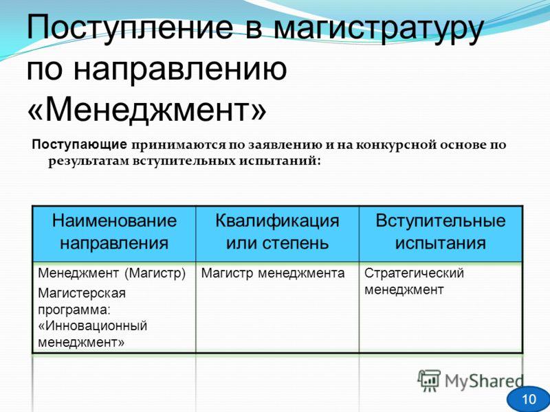 Поступление в магистратуру по направлению «Менеджмент» Поступающие принимаются по заявлению и на конкурсной основе по результатам вступительных испытаний: 10
