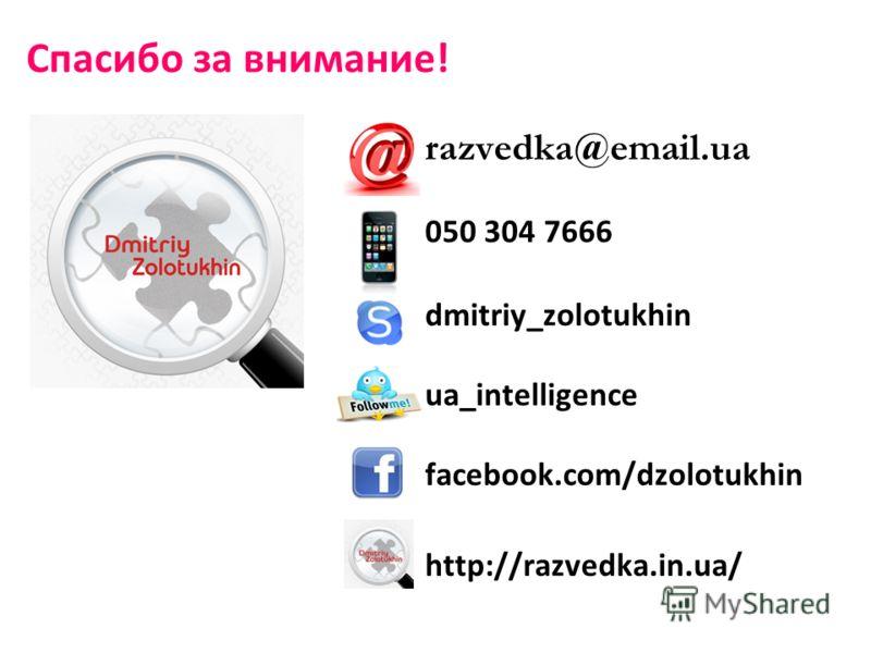 razvedka@email.ua 050 304 7666 dmitriy_zolotukhin ua_intelligence facebook.com/dzolotukhin http://razvedka.in.ua/ Спасибо за внимание!