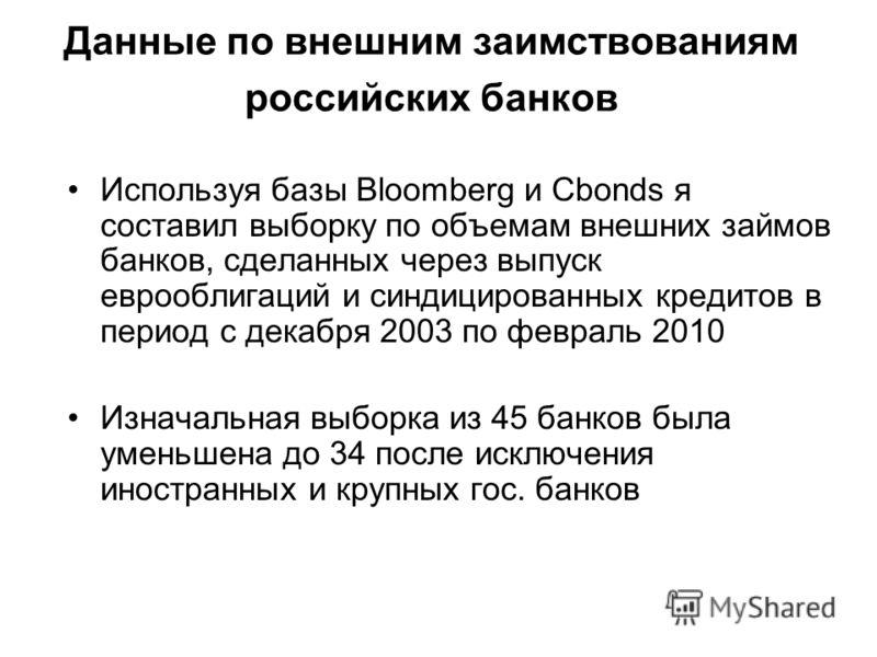 Данные по внешним заимствованиям российских банков Используя базы Bloomberg и Cbonds я составил выборку по объемам внешних займов банков, сделанных через выпуск еврооблигаций и синдицированных кредитов в период с декабря 2003 по февраль 2010 Изначаль