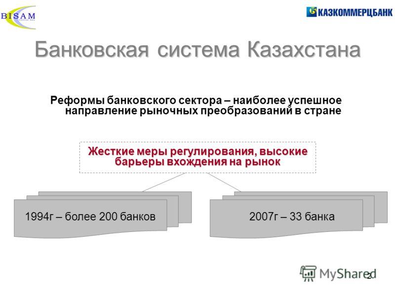 2 Банковская система Казахстана Реформы банковского сектора – наиболее успешное направление рыночных преобразований в стране Жесткие меры регулирования, высокие барьеры вхождения на рынок 1994г – более 200 банков2007г – 33 банка