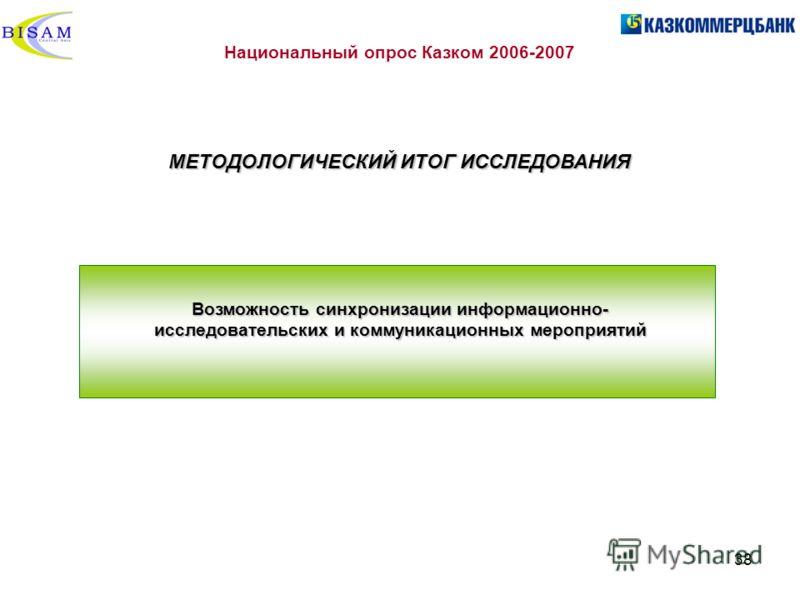 38 Национальный опрос Казком 2006-2007 МЕТОДОЛОГИЧЕСКИЙ ИТОГ ИССЛЕДОВАНИЯ Возможность синхронизации информационно- исследовательских и коммуникационных мероприятий