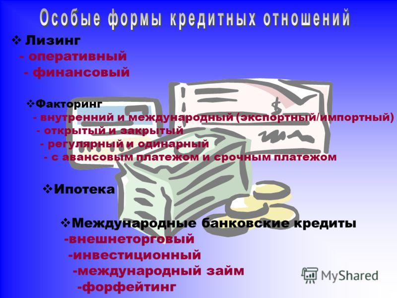 Лизинг - оперативный - финансовый Факторинг - внутренний и международный (экспортный/импортный) - открытый и закрытый - регулярный и одинарный - с авансовым платежом и срочным платежом Ипотека Международные банковские кредиты -внешнеторговый -инвести