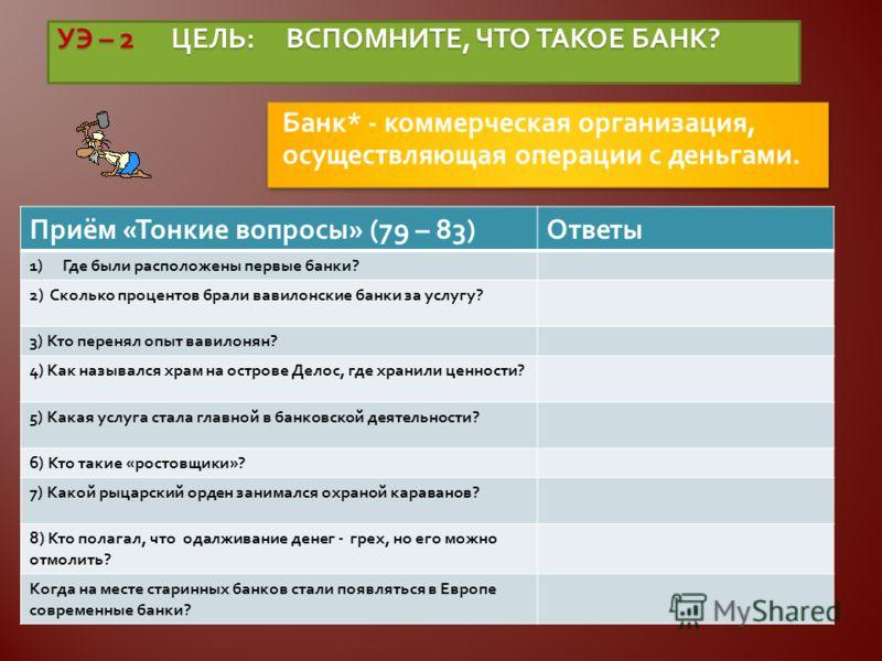УЭ – 2 ЦЕЛЬ : ВСПОМНИТЕ, ЧТО ТАКОЕ БАНК ? Банк * - коммерческая организация, осуществляющая операции с деньгами. Приём « Тонкие вопросы » (79 – 83) Ответы 1)Где были расположены первые банки ? 2) Сколько процентов брали вавилонские банки за услугу ?