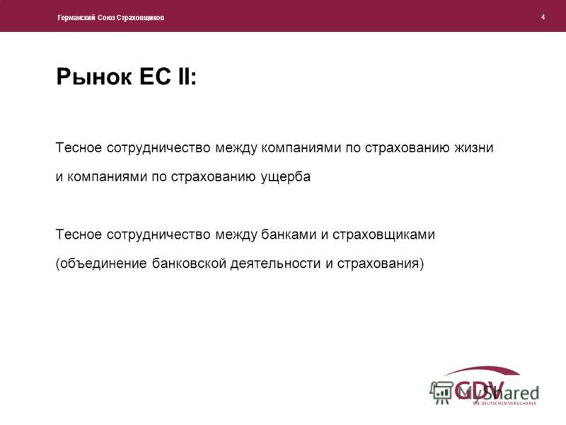 Германский Союз Страховщиков 4 Рынок ЕС II: Тесное сотрудничество между компаниями по страхованию жизни и компаниями по страхованию ущерба Тесное сотрудничество между банками и страховщиками (объединение банковской деятельности и страхования)