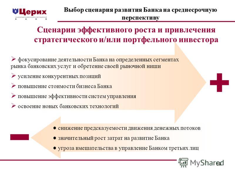 14 Выбор сценария развития Банка на среднесрочную перспективу Сценарии эффективного роста и привлечения стратегического и/или портфельного инвестора фокусирование деятельности Банка на определенных сегментах рынка банковских услуг и обретение своей р