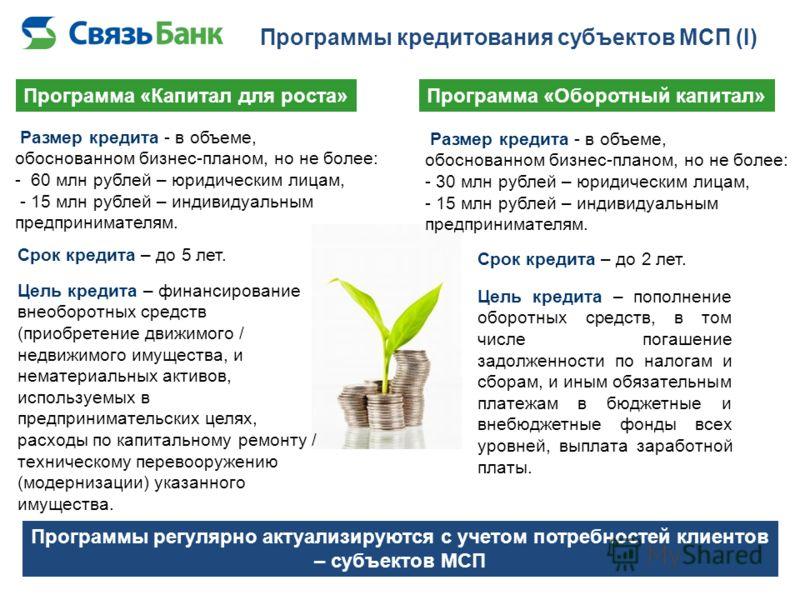 Программы кредитования субъектов МСП (I) Программа «Капитал для роста»Программа «Оборотный капитал» Программы регулярно актуализируются с учетом потребностей клиентов – субъектов МСП Цель кредита – финансирование внеоборотных средств (приобретение дв