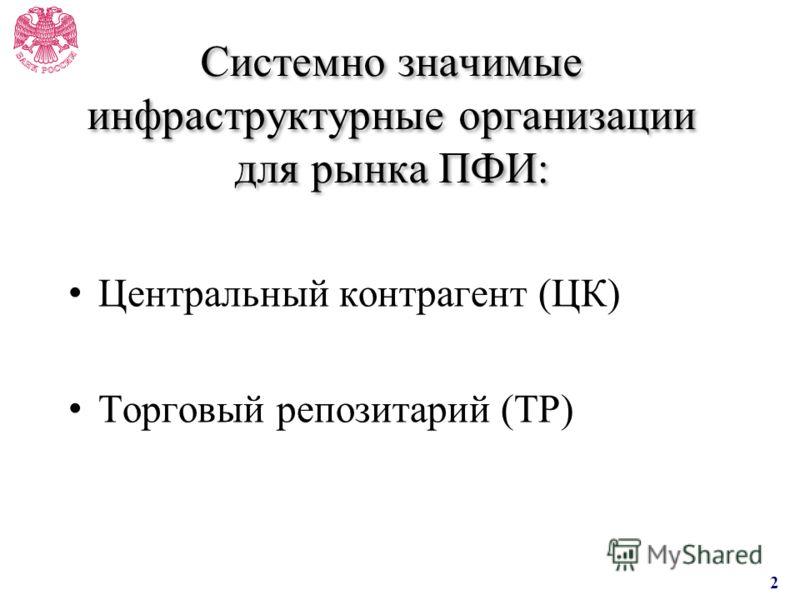 Системно значимые инфраструктурные организации для рынка ПФИ: Центральный контрагент (ЦК) Торговый репозитарий (ТР) 2