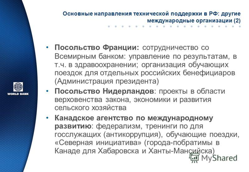 Основные направления технической поддержки в РФ: другие международные организации (2) Посольство Франции: сотрудничество со Всемирным банком: управление по результатам, в т.ч. в здравоохранении; организация обучающих поездок для отдельных российских