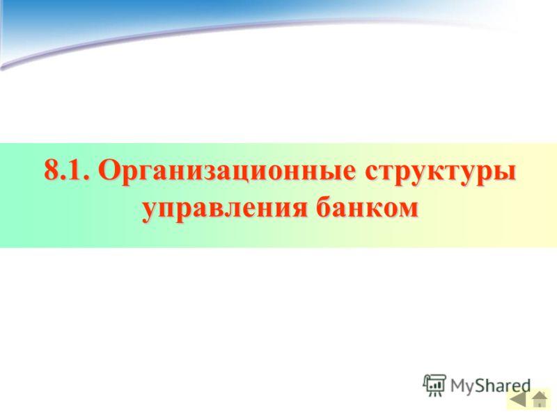 8.1. Организационные структуры управления банком
