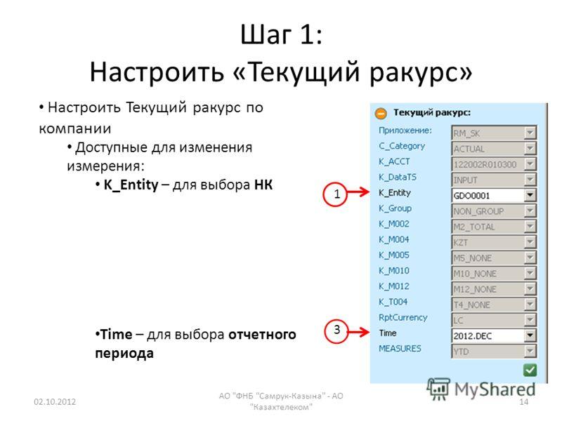 Шаг 1: Настроить «Текущий ракурс» 19.08.2012 АО ФНБ Самрук-Казына - АО Казахтелеком 14 Настроить Текущий ракурс по компании Доступные для изменения измерения: K_Entity – для выбора НК Time – для выбора отчетного периода 1 3