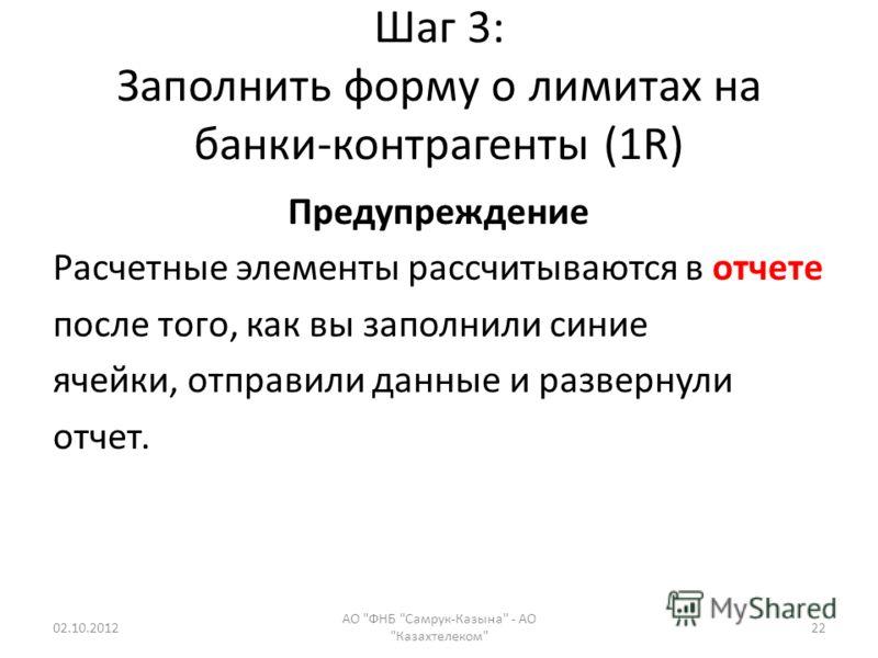 Шаг 3: Заполнить форму о лимитах на банки-контрагенты (1R) Предупреждение Расчетные элементы рассчитываются в отчете после того, как вы заполнили синие ячейки, отправили данные и развернули отчет. 19.08.2012 АО