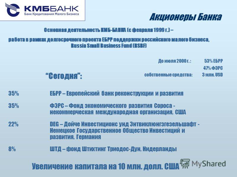 Акционеры Банка До июля 2000 г. :53% ЕБРР 47% ФЭРС собственные средства: 3 млн. USD Увеличение капитала на 10 млн. долл. США Сегодня: 35%ЕБРР – Европейский банк реконструкции и развития 35%ФЭРС – Фонд экономического развития Сороса - некоммерческая м