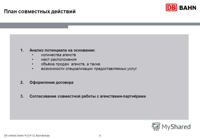 5 План совместных действий 1.Анализ потенциала на основании: количества агенств мест расположения объёма продаж агенств, а также возможности специализации предоставляемых услуг 2.Оформление договора 3.Согласование совместной работы с агенствами-партн