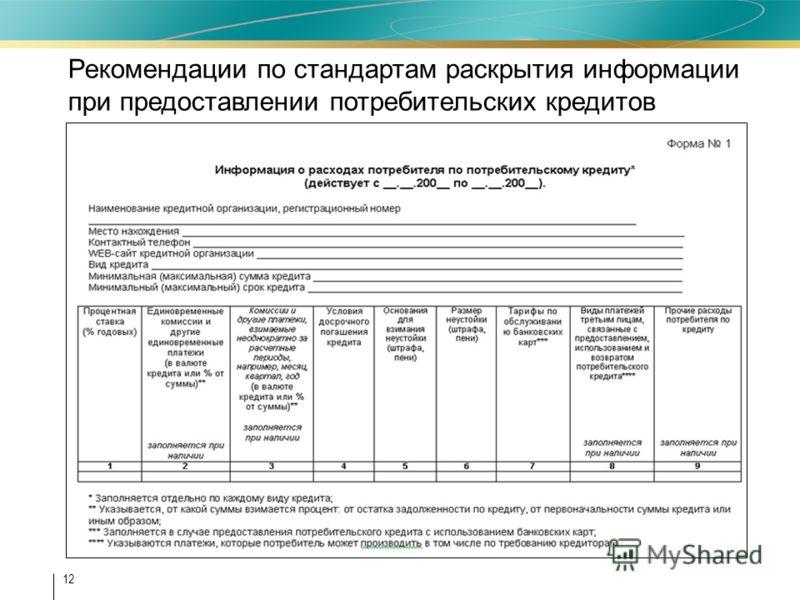 12 Рекомендации по стандартам раскрытия информации при предоставлении потребительских кредитов