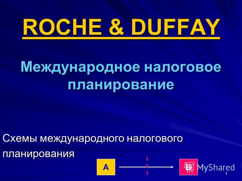 1 ROCHE & DUFFAY Международное налоговое планирование Схемы международного налогового планирования АВ