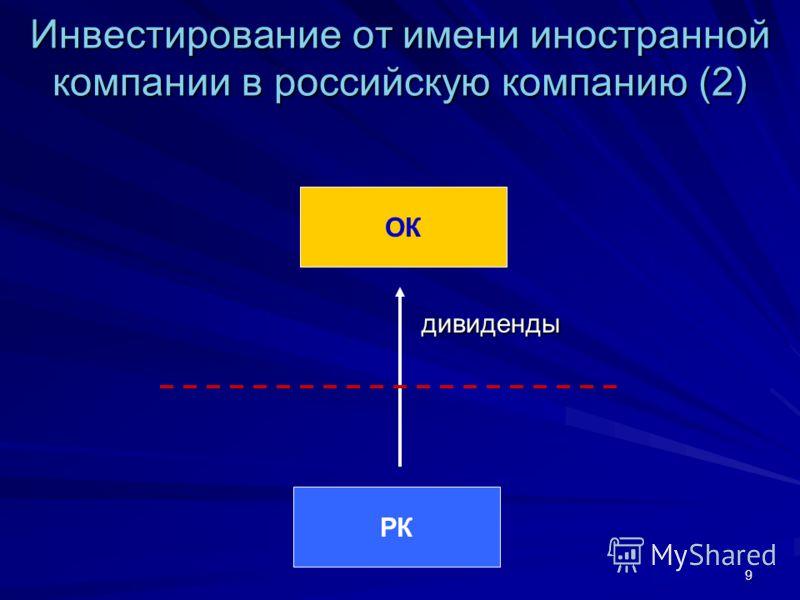 9 Инвестирование от имени иностранной компании в российскую компанию (2) дивиденды РК ОК