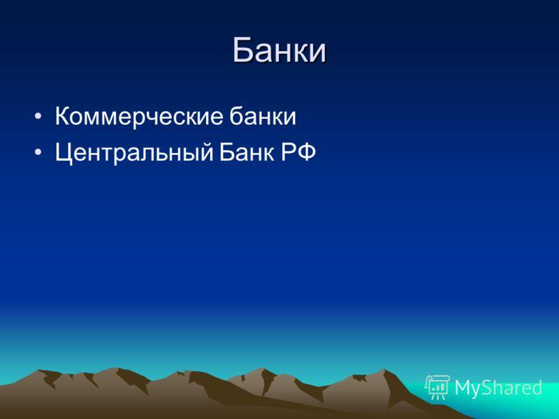 Банки Коммерческие банки Центральный Банк РФ