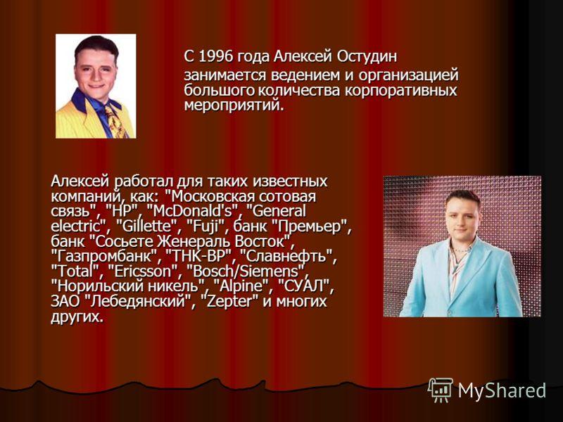Алексей работал для таких известных компаний, как:
