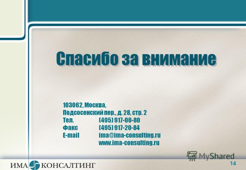14 Спасибо за внимание 103062, Москва, Подсосенский пер., д. 28, стр. 2 Тел. (495) 917-00-80 Факс (495) 917-20-84 E-mail ima@ima-consulting.ru www.ima-consulting.ru