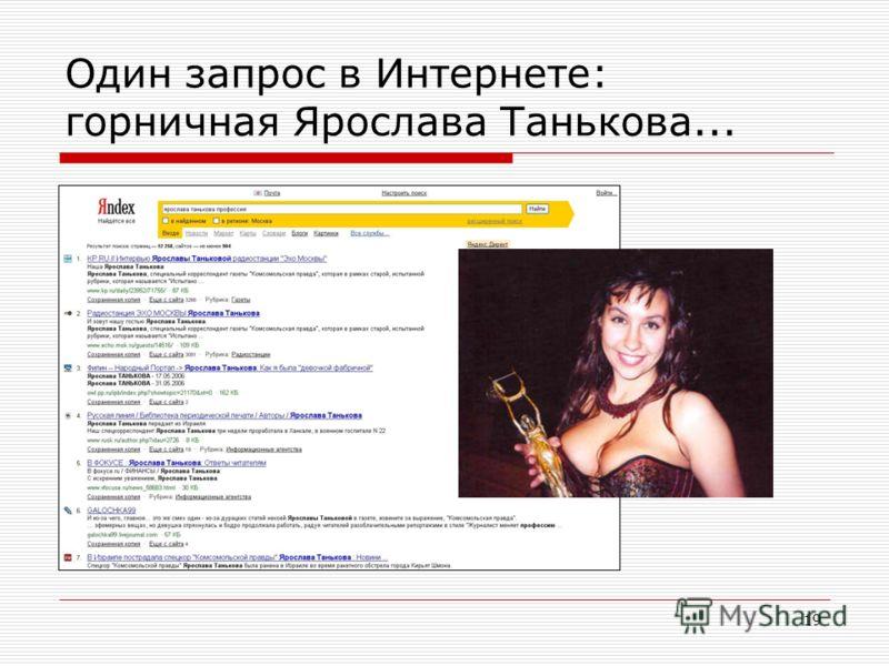 19 Один запрос в Интернете: горничная Ярослава Танькова...