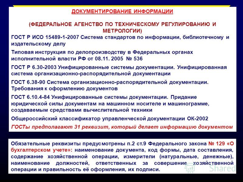 ДОКУМЕНТИРОВАНИЕ ИНФОРМАЦИИ (ФЕДЕРАЛЬНОЕ АГЕНСТВО ПО ТЕХНИЧЕСКОМУ РЕГУЛИРОВАНИЮ И МЕТРОЛОГИИ) ГОСТ Р ИСО 15489-1-2007 Система стандартов по информации, библиотечному и издательскому делу Типовая инструкция по делопроизводству в Федеральных органах ис