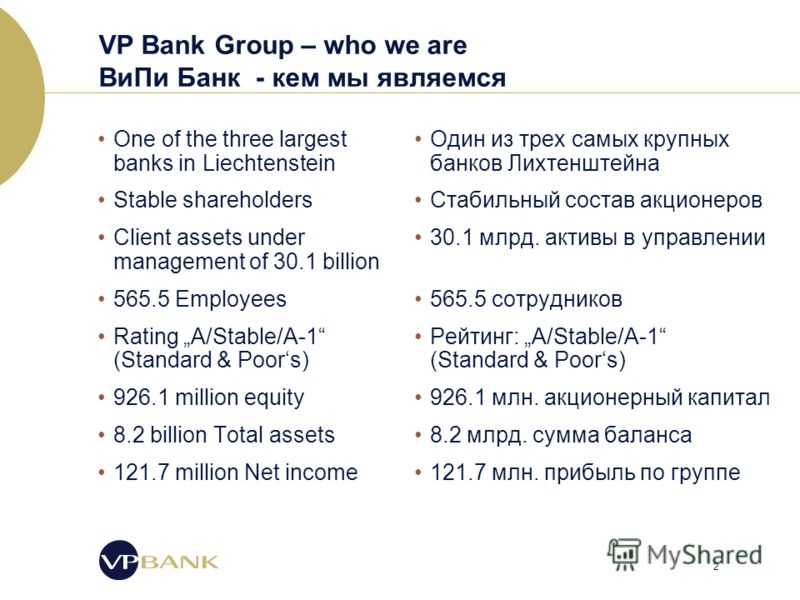 2 VP Bank Group – who we are ВиПи Банк - кем мы являемся One of the three largest banks in Liechtenstein Stable shareholders Client assets under management of 30.1 billion 565.5 Employees Rating A/Stable/A-1 (Standard & Poors) 926.1 million equity 8.