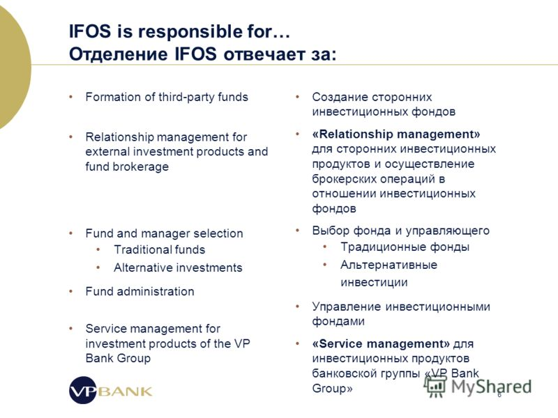 6 IFOS is responsible for… Отделение IFOS отвечает за: Formation of third-party funds Relationship management for external investment products and fund brokerage Fund and manager selection Traditional funds Alternative investments Fund administration