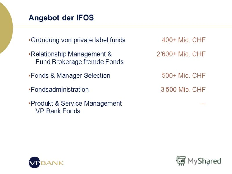 8 Angebot der IFOS Gründung von private label funds400+ Mio. CHF Relationship Management & 2600+ Mio. CHF Fund Brokerage fremde Fonds Fonds & Manager Selection 500+ Mio. CHF Fondsadministration3500 Mio. CHF Produkt & Service Management --- VP Bank Fo